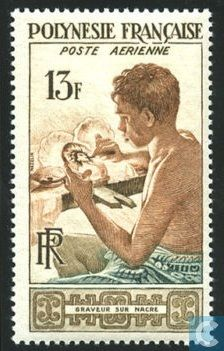 Stamps - French Polynesia - Mother of Pearl Artist 1958