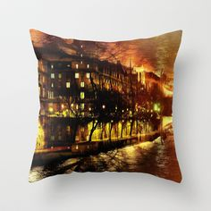 Paris brûle-t-il ? Throw Pillow by Jean-François Dupuis - $20.00
