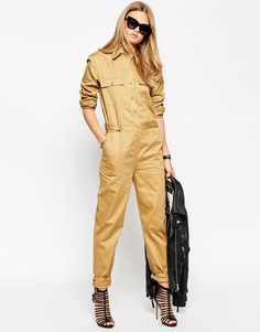 Love how this ASOS Premium Utility Jumpsuit works with heels!