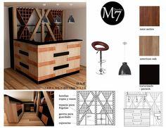 M7 diseños   Etapa de diseño de bar particular en departamento ubicado en Manuel Montt. Bar semi rustico.