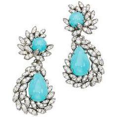1970s Harry Winston Turquoise Diamond Platinum Ear Pendants