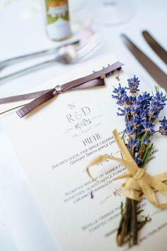 Ribbon Menu Stationery Lavender Flowers Quintessential English Country Garden London Travel Wedding http://lauradebourdephotography.com/