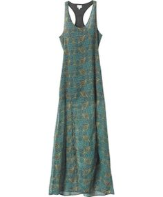 Dress is a crinkle chiffon dress with a slight v-shape neckline with a racer back and two high slits at the front