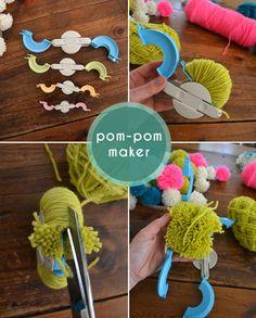 diy pom pom chandelier – neon boho mod craft decor – retro yarn pom mobile | Small for Big