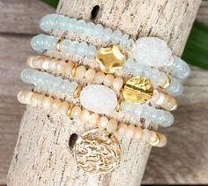AQUA MARINE / PEARL stretch bracelets / druzy bracelets / hammered coin bracelets / set of five