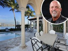 Billy Joel's Miami Estate- I love his house. The exterior patio is so nice; however, he recently sold it.There's another picture of the covered patio which shows the ceiling that wouldn't show so go to it becase it's beautiful. This site has celebrities'homes.