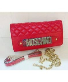Moschino Women Quilting Leather Clutches Wallet Red