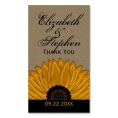 .Rustic Country Burlap Sunflower Wedding Favors Business Card Templates Wedding gift tags / favor cards design featuring a graphically created sunflower on a burlap background utilizing the colors of multi-tonal golden yellow, rust and black with the b...