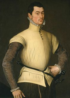 By Antonis Mor. Portrait of the Dutch traitor Willem IV van den Bergh (1537-1586). He was married to the oldest sister of the Dutch ruler William of Orange. Before AND a second time after the murder on Orange (in 1584) he decided to switch to the Spanish side. All his sons followed him. The youngest one Hendrick van den Bergh decided in 1632 to switch to the Dutch side, to the side of his own cousin Frederik Hendrik van Oranje Nassau.