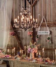 Rustic country wedding table ~ love the chandelier