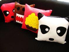 Panda, Cupcake, and Domo Pillows