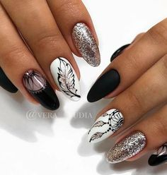 50 Winter Nail Art Designs 2019 The best new nail polish colors and trends plus gel manicures, ombre Feather Nail Designs, Feather Nail Art, Gel Nail Designs, Cute Nail Designs, Indian Nail Designs, Feather Design, Nails Design, Cute Acrylic Nails, Cute Nails