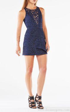 2016 Hanah Scroll Lace Layered BCBG Cocktail Dress Navy
