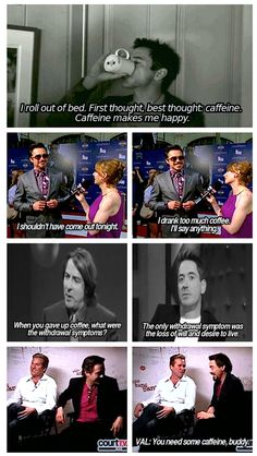 """The not-so-complicated relationship between Robert Downey Jr. and caffeine: """"It's Friday evening, and we're all in a side room at a restaurant in Santa Monica … And every few minutes the (box-office) estimates go up … And I'm going crazy because I've had 25 Cokes and three cappuccinos."""""""