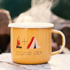 Our enamel mugs are great for indoor and outdoor uses. Dishwasher safe, the designed decals will never ware away. The mugs can also be used on the campfire while camping. So go ahead and get some good use out of these mugs!