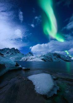 Full Moon Lightshow by Arild Heitmann on 500px... #arctic #aurora #aurora borealis #heitmann #ice #lofoten #lofotentours #moonlight #mountain #northern lights #norway #snow #winter