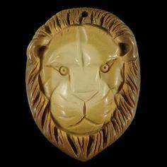 BH10015# Natural Hand Carved Lion Head Succor Creek Jasper Pendant Bead #Handmade #Pendant