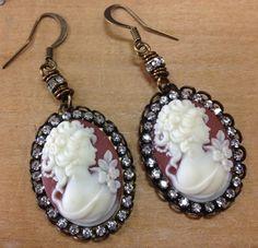 Cameo Earrings Handmade by Crystal Basica by vintagefairyfinds, $25.00