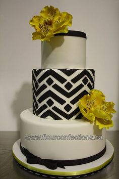 Black and white cake with yellow poppies. #cake