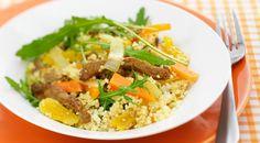 Schotel van couscous, shoarma en abrikozen Orzo, Fried Rice, Quinoa, Grains, Pasta, Ethnic Recipes, Food, Header, Bulgur