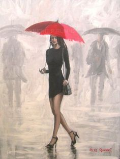 PETE-RUMNEY-FINE-ART-BUY-ORIGINAL-ACRYLIC-PAINTING-RED-UMBRELLA-GIRL-BLACK-DRESS