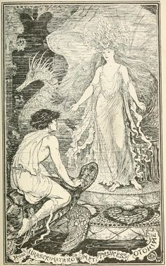 How Uraschimataro Met Princess Otohime - The Pink Fairy Book by Andrew Lang, 1897