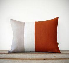 Rust & Cream Colorblock Pillow Cover by #JillianReneDecor