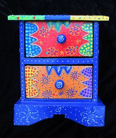 Small Decorative Chest Of Drawers/storage Box/jewellery Box, Hand-painted Bright