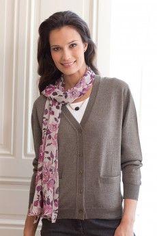 Le gilet femme manches longues biche. Pure laine vierge mérinos. Made in  France. 153c2f4d5939