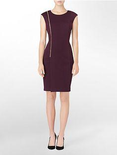 exposed zip detail cap sleeve dress | Calvin Klein