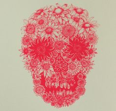 Neon Pink Flower Skull Greeting Card from Illustrator by LYDEX, $6.00