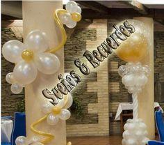 arreglo de globos Quinceanera Dresses, Ideas Bodas, Balloons, Table Decorations, Diy, Home Decor, Amor, Home, Golden Wedding Anniversary