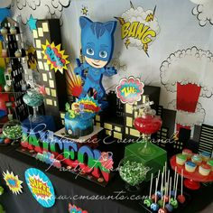 Letras 5th Birthday Party Ideas, Kids Birthday Themes, Birthday Decorations, 3rd Birthday, Party Themes, Pjmask Party, Festa Pj Masks, Turtle Birthday, Party Accessories