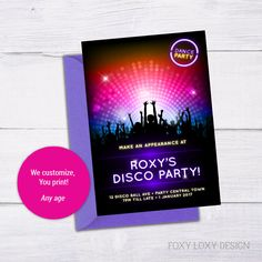 Disco Party Invite by FoxyLoxyDesign on Etsy Disco Party, Disco Ball, Printable Invitations, Party Invitations, Invitation Design, Invite, Party Central, Photo Printer, Printing Services