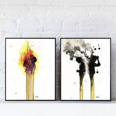 """Set of 2 Art Pieces by Lora Zombie:  Love Burns I by Lora Zombie Love Burns II. Each measures 10 x 12 inches and is mounted to a 2"""" deep Art Block Frame."""