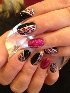 Black silver and pink glitter freehand nail art with fairy godmother ring finger