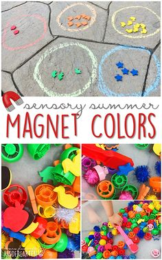 Fill your sensory bin with magnetic counters, pouch lids and pom poms and have fun sorting with this sensory bin. This is the perfect outdoor activity for summer tot school, preschool, or kindergarten! Senses Activities, Pre K Activities, Montessori Activities, Alphabet Activities, Summer Activities, Color Activities, Preschool Lessons, Preschool Ideas, Tot School
