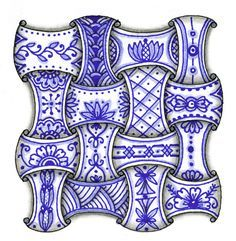Linda's Crafty Inspirations: Blue & White Zentangles