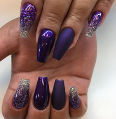 """1,184 Likes, 7 Comments - Angelina Rossi (@naglargoteborg) on Instagram: """"Purple passion matte and shiny glitterombre with selfmixed glitter #lillynails"""""""
