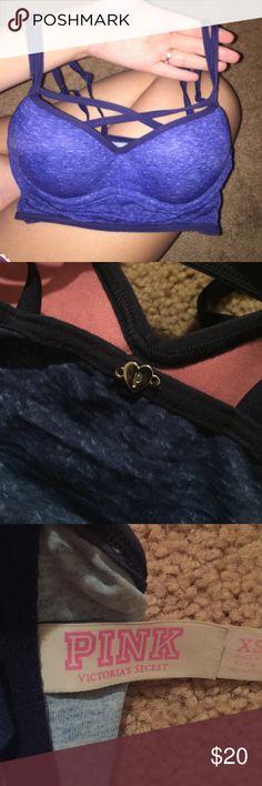 Victoria's Secret, front cris cross sports bra Super cute navy blue heather sports bra, crosses at the front, adjustable straps. PINK Victoria's Secret Intimates & Sleepwear Bras