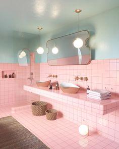 Pastel pink bathrooms, hot pink bathrooms, pink bathroom tiles, pink bathroom sets, pink basins and pink vanities. These pink bathroom ideas have it all & more. Hot Pink Bathrooms, Pink Bathroom Tiles, Retro Bathrooms, Pink Tiles, Small Bathroom, Master Bathroom, Bathroom Colors, Colourful Bathroom Tiles, Pink Bathroom Accessories