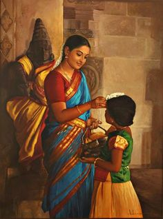 Mother adjusting Jasmine flower on her daughter's head - Painting by S. Elayaraja