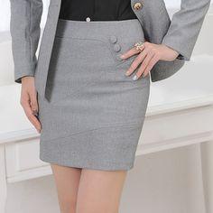 3c07d2a0096 2016 New Arrival Women Formal Mini Skirts Slim Three Buttons Falda Office  Wear Lady Jupe Womens