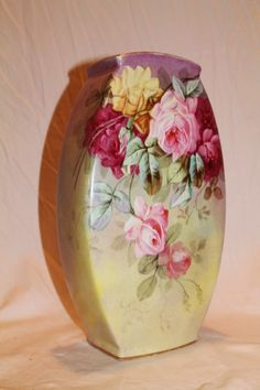 """VERY RARE HUGE  WG&Co. Limoges VASE ~  """"BREATHTAKING ROSES"""" ~1891 to 1932 ~Gorgeous Antique Limoges France Hand Painted Victorian Treasure Collector Piece ~Master Artistry on RARE Limoges Blank"""