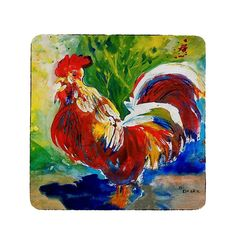 Red Roosters Coaster Set of Multicolor(Synthetic Fiber)
