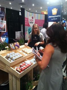 Bubble Berry Trade show exhibit. Our lovely Trade Specialist, Hannah, helping out the Bubble Berry company at the 2015 Summer Fancy Food Show! #WorldTradeCenterHarrisburg