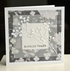 card elegant branch with berries Vellum over DP with die cut (try with MB) black white gray Paper Cards, Diy Cards, Diy Paper, Acetate Cards, Scrapbooking Photo, Karten Diy, Get Well Cards, Sympathy Cards, Card Tags