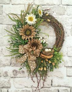 Burlap Sunflower Wreath, Summer Wreath for Door, Front Door Wreath, Summer Door Wreath, Silk Floral Wreath, Grapevine Wreath, Outdoor Wreath, Polka Dot Burlap Bow, Eggs, Bird's Nest, Greenery, Dried Sponge Mushrooms, Wreath on Etsy, by Adorabella Wreaths!
