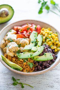 Chicken Burrito Bowls - Juicy chicken along with your favorite burrito ...