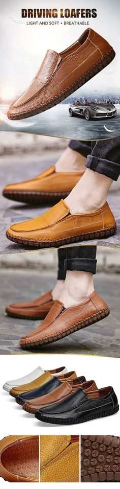 Big Size Sewing Soft Sole Breathable Slip On Shoes Casual Driving Loafers